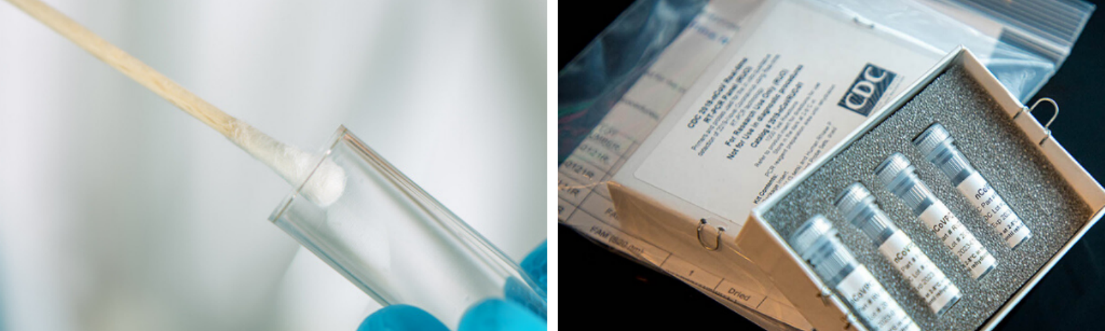 An image of a cotton swab in a test tube on the left and a CDC COVID-19 diagnostic panel on the right
