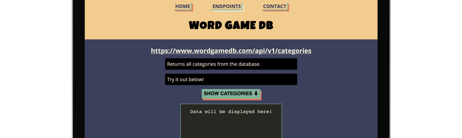 The live version of Word Game DB