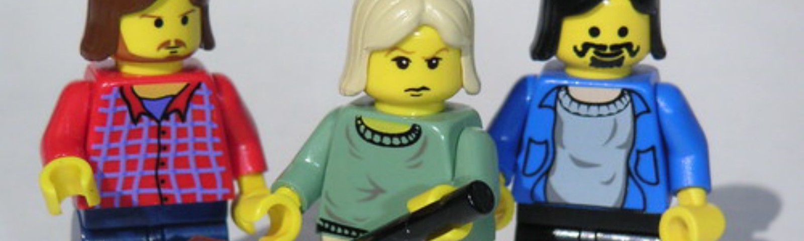 A Lego Picture of Nirvana members.