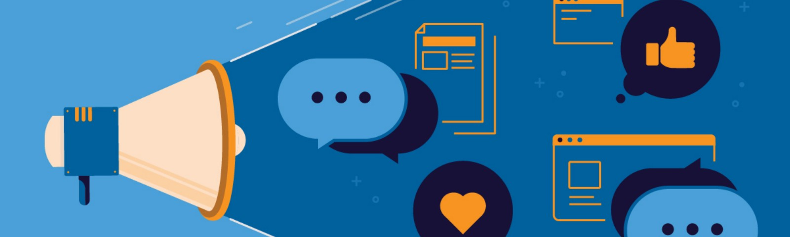 Megaphone with communication imagery like text message, heart icon, web pages, and more
