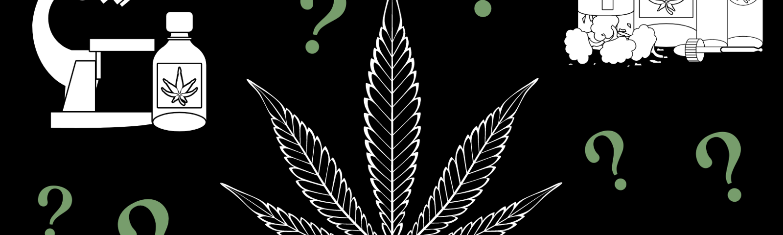 Medicine bottles and cannabis leaves with question marks
