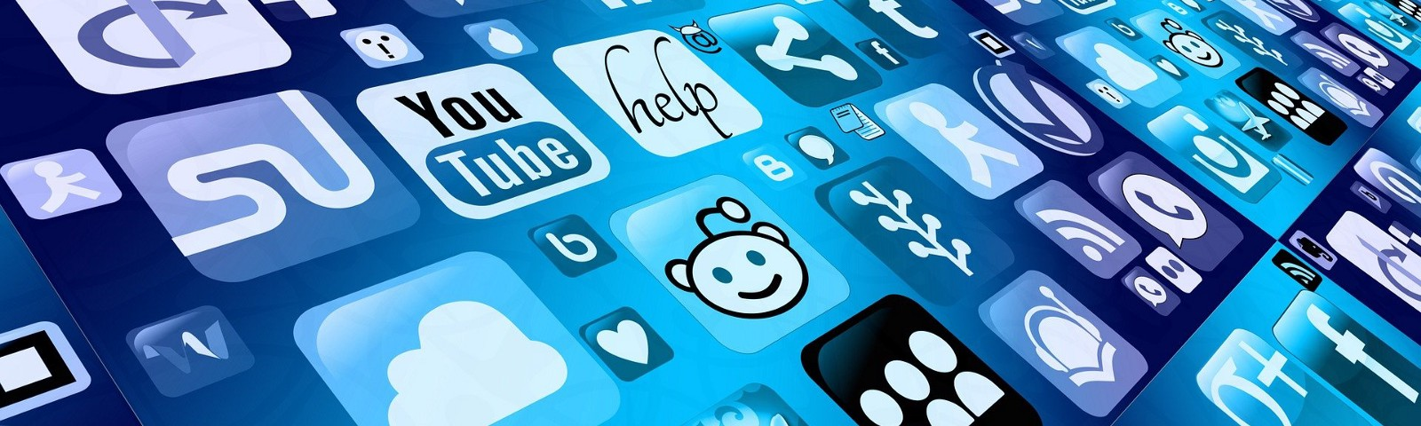 Blue collage of social media app icons