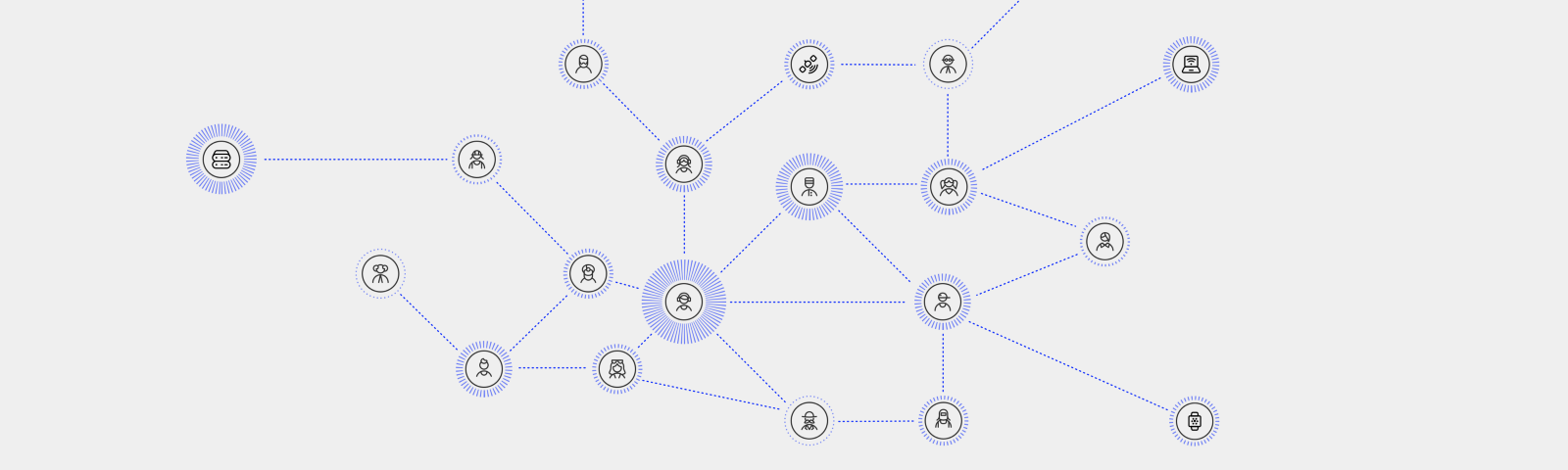 A network of connections between people and machines sharing various levels of data across the network