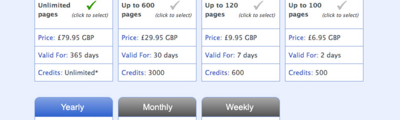 The current and suggested subscription options, with the latter being more simplified, just showing yearly/monthly/weekly.