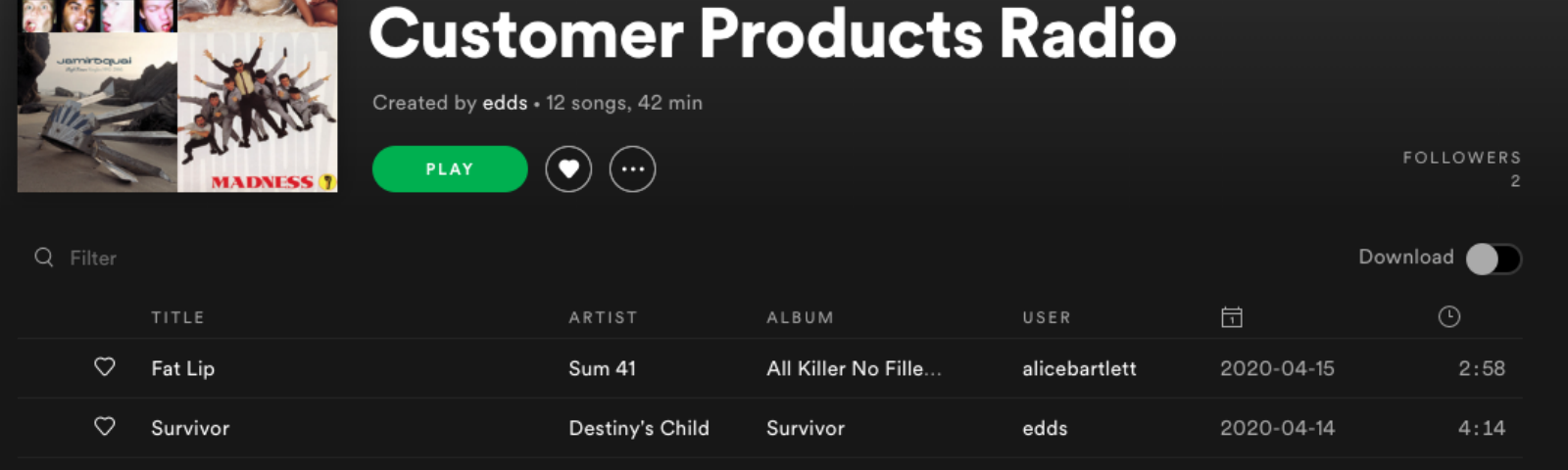 Spotify screenshot showing our playlist for the first show