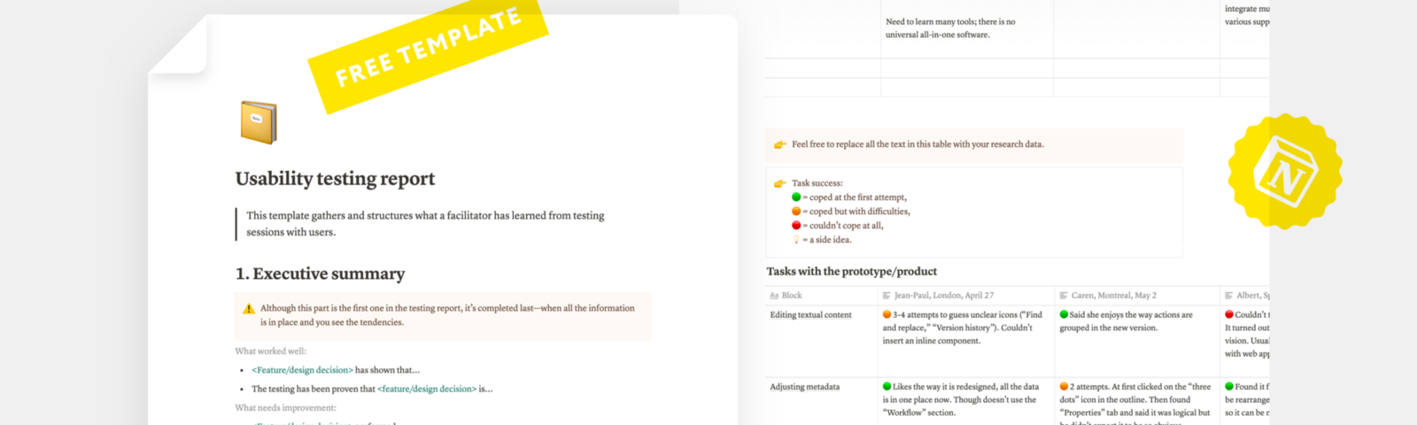 Screenshots from the web app Notion that show a template of the report after usability testing