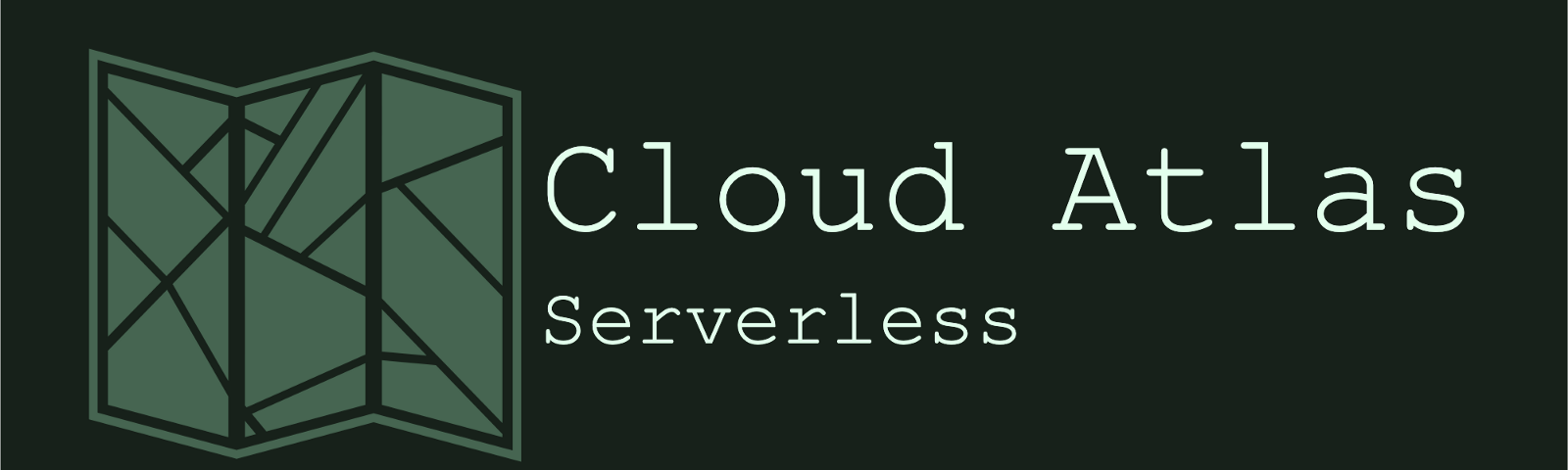 """Title image """"Cloud Atlas. Serverless"""". Showing the outline of a paper map."""