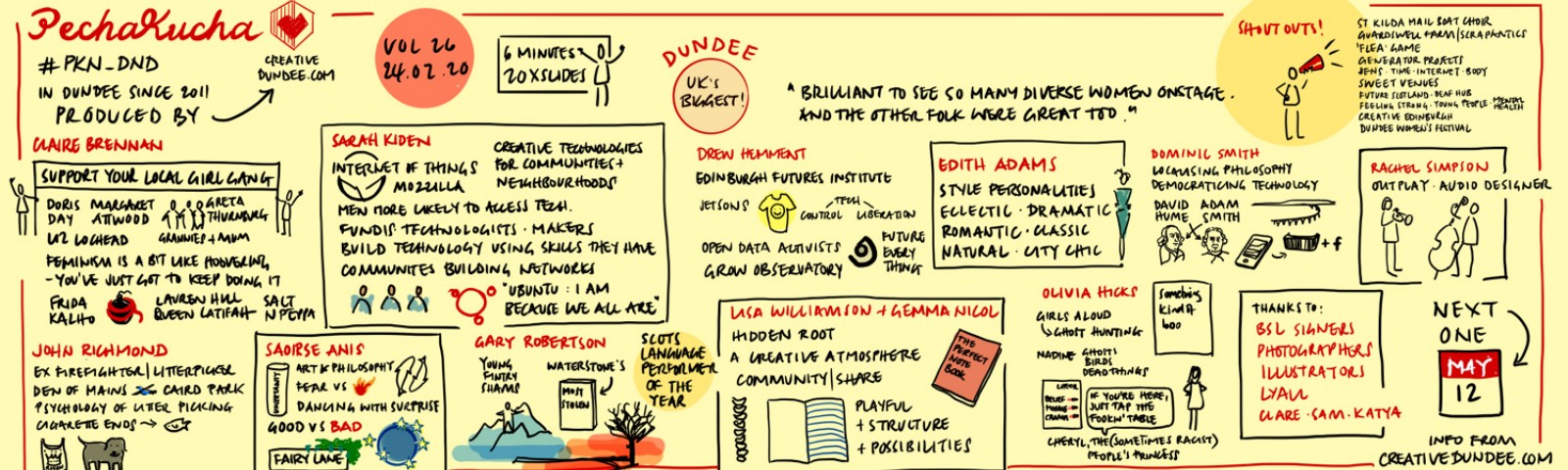 Sketchnote — notes and pictures about at Pecha Kucha Dundee full details of event https://bit.ly/2L8wKVX