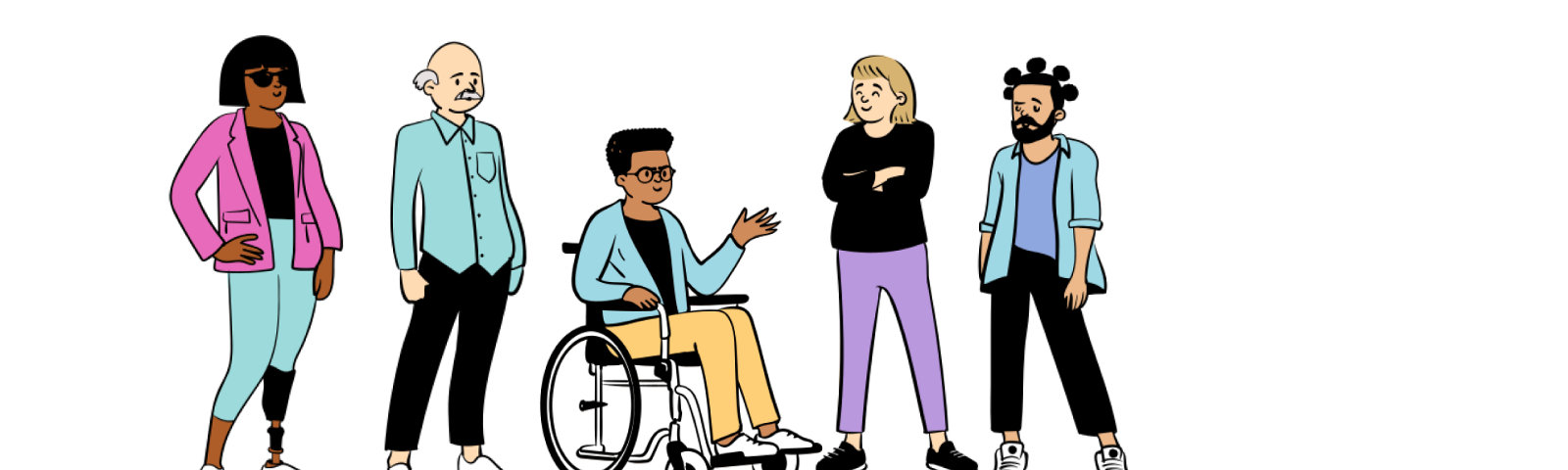 A cartoon image of 5 people standing together.