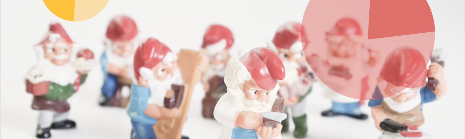 A group of gnomes with different jobs and pie charts overlaying