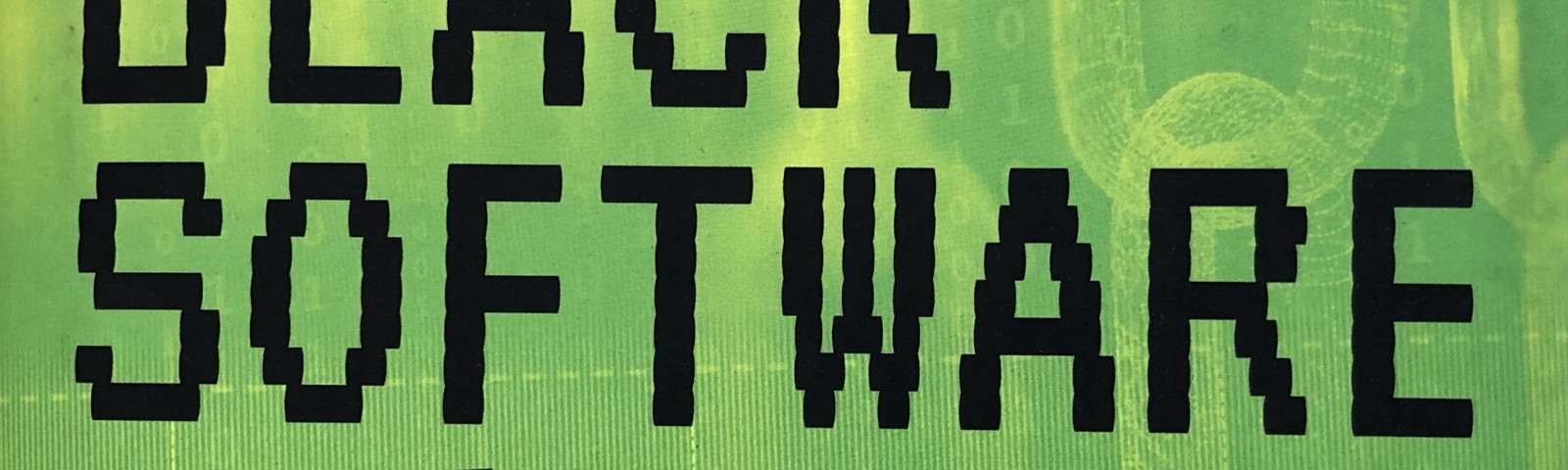 """The top of the cover of McIlwain's book, showing the title """"BLACK SOFTWARE"""" and a pixelated fist."""