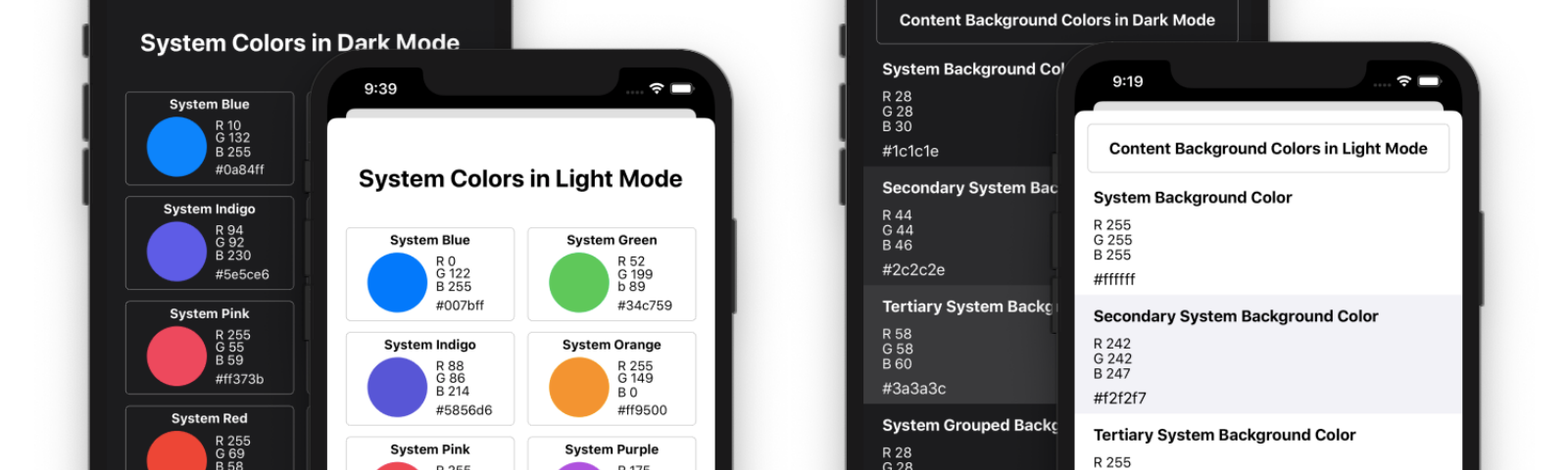 iOS system colors and content background colors in light mode and dark mode
