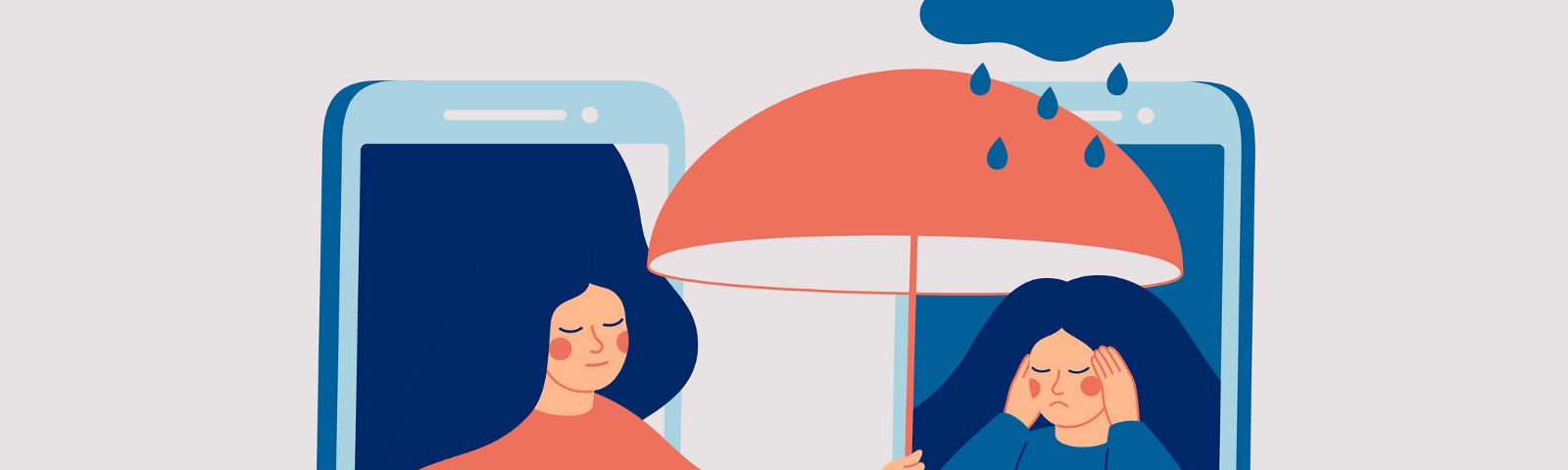 Conceptual illustration of two friends comforting each other through the phone; one holds an umbrella over the other's rain.