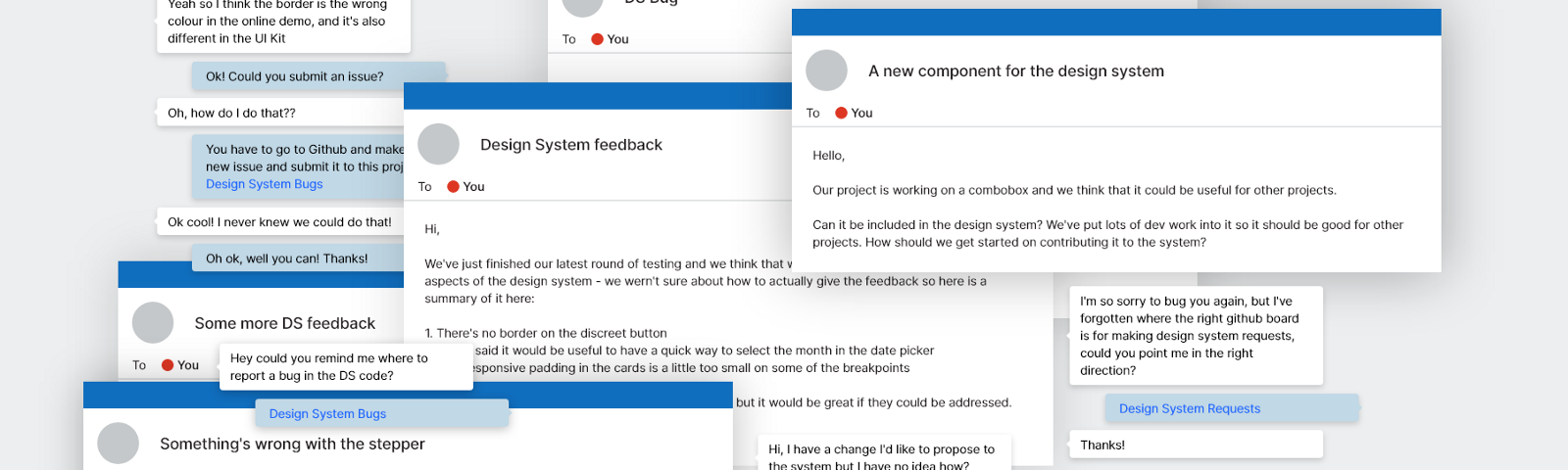 Collage of confused Design System messages