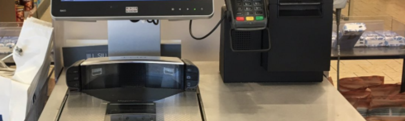 Self-checkout in supermarket