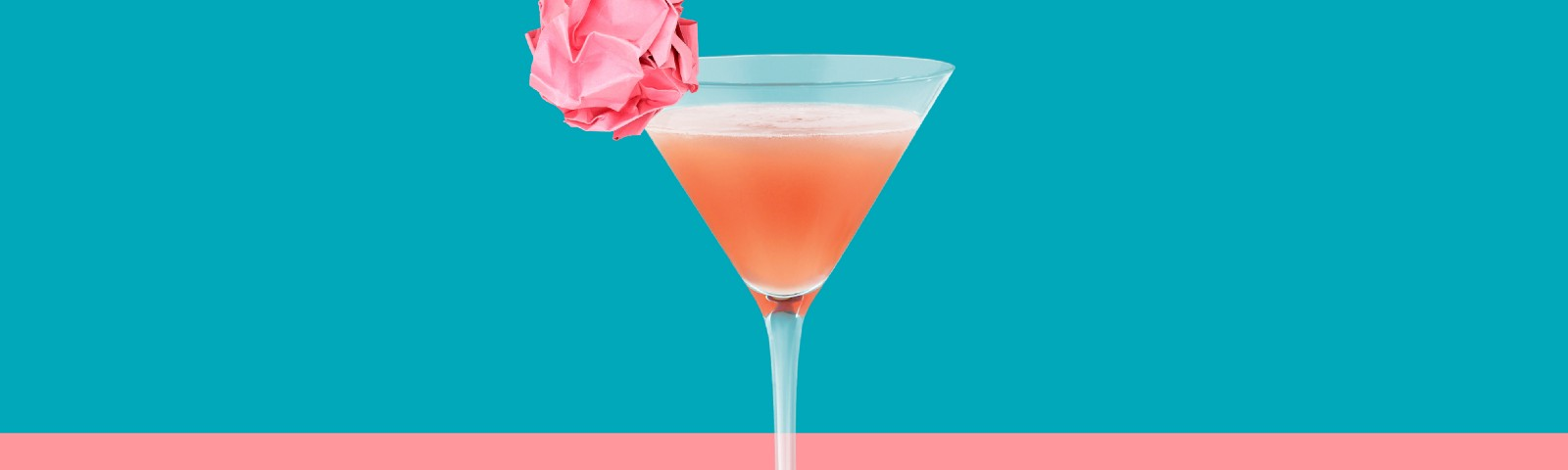 Cocktail with a post it as garnish