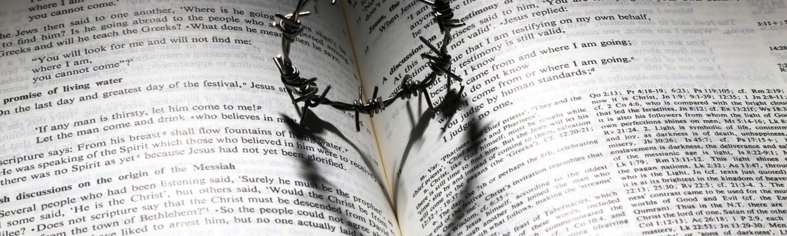 A crown of thorns sitting on top of an open Bible