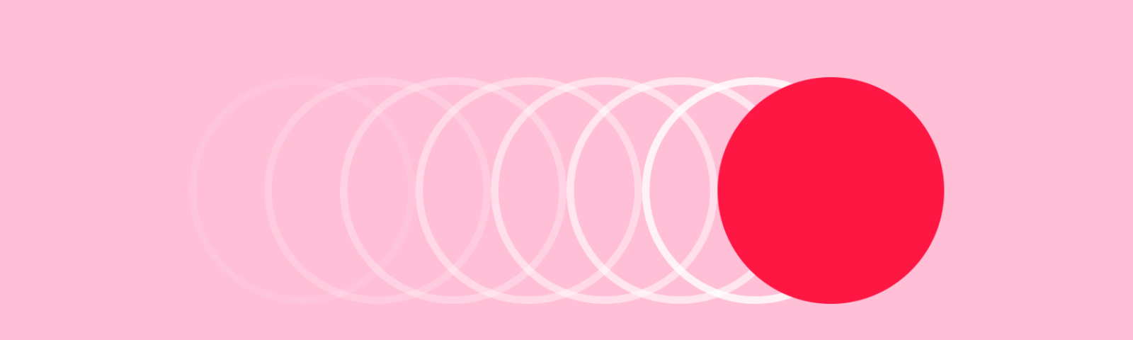Minimalistic animation cover image of a ball moving right