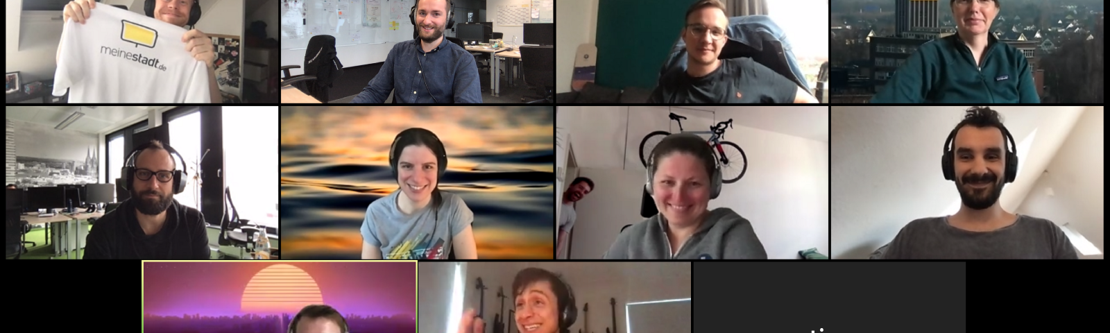 The members of the frontend optimization board (FOB) meeting virtually for one of their meetings, posing for a group picture