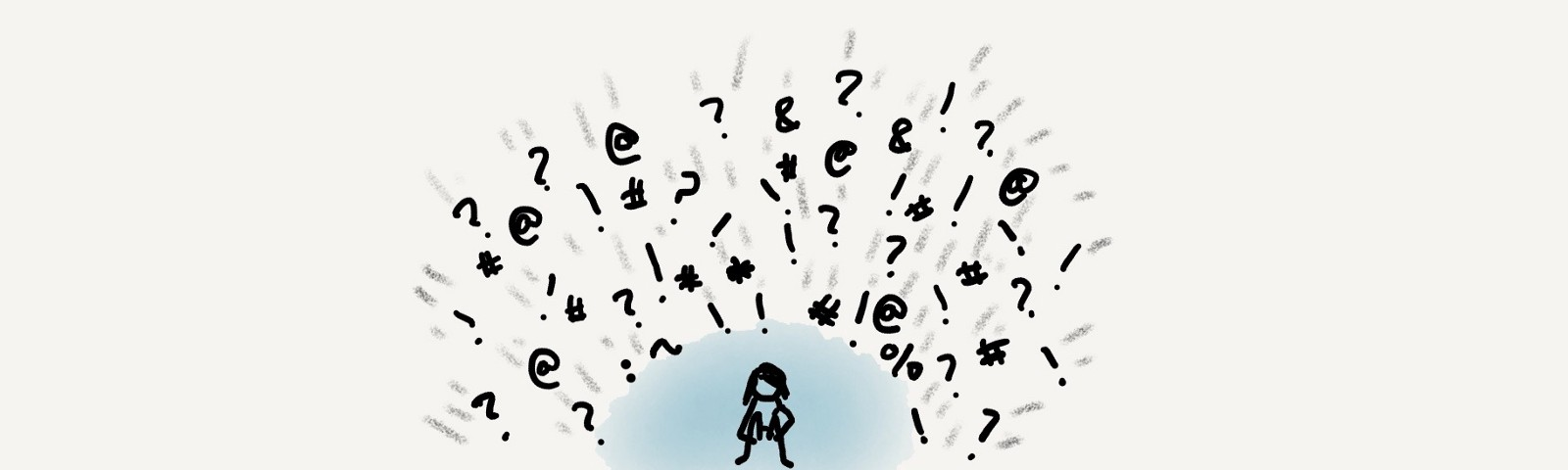 Several punctuation marks flying towards a stick figure protected by a blue orb.