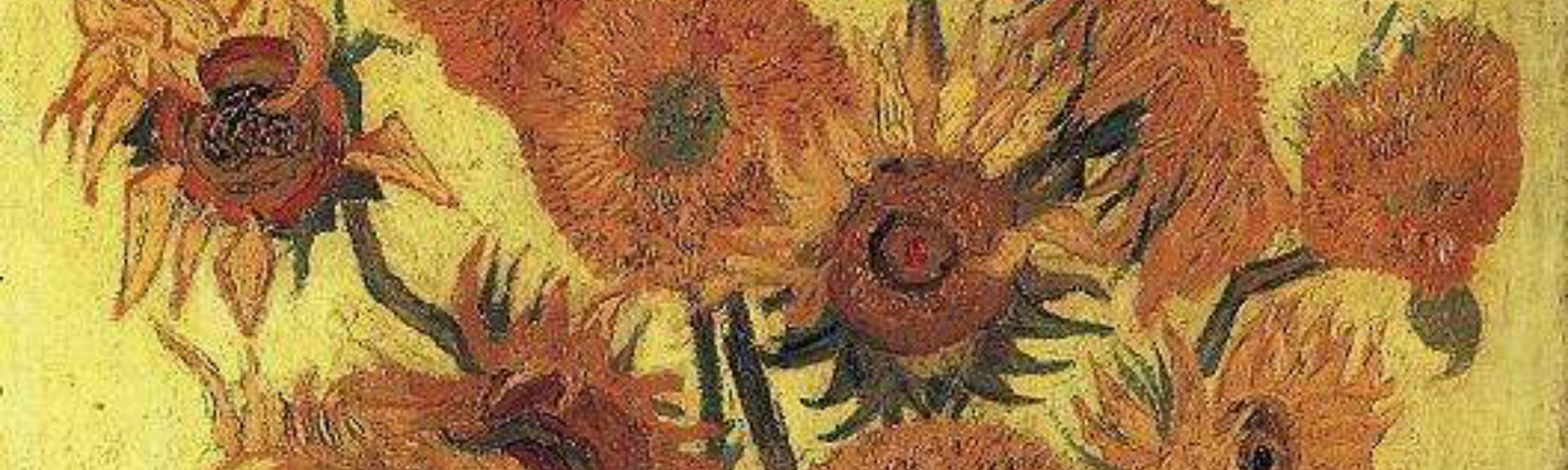 Impasto painting in hues of yellow: vase with 15 sunflowers in various life stages.