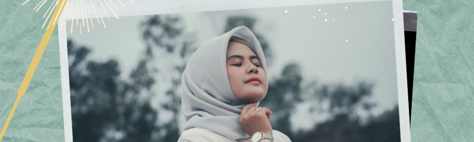 A woman wearing a hijab smiles peacefully with her eyes closed. Below her is the word Trust.