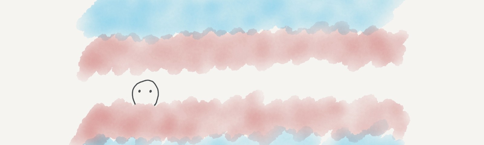 A fluffy trans pride flag with a stick figure person peeking out the center white area.