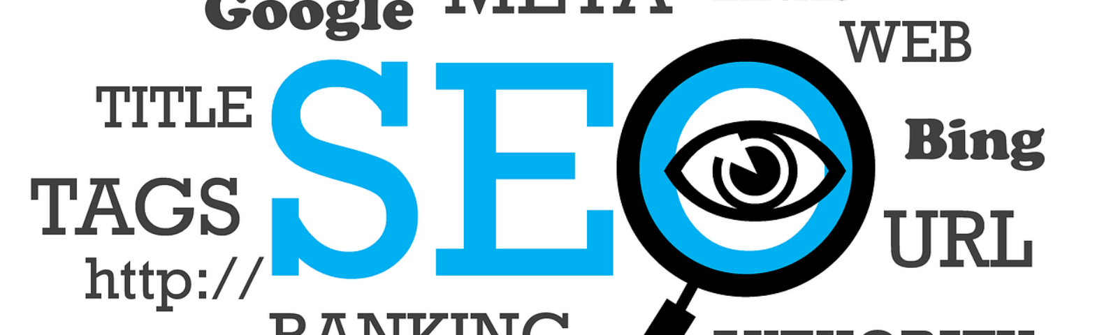 Image for Optimize My Medium Article shows the words SEO, Meta, Google, and others with magnifying glass