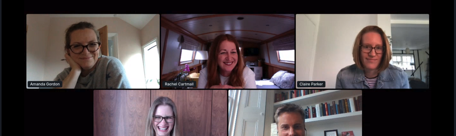 Our 3 panelists and Amanda and I at our virtual event.