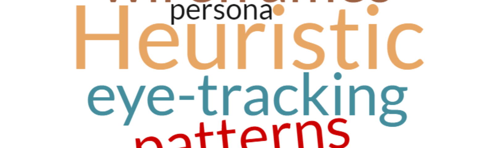 "Word cloud of UX terms like ""heuristic"" and ""wireframes."""