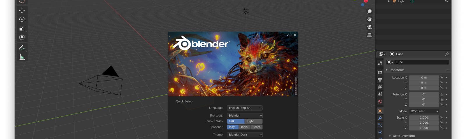 A screenshot of the startup screen of a newly installed Blender programme version 2.90.0