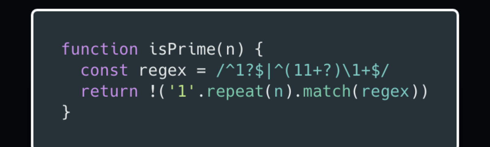 A wild way to check if a number is prime using a regular expression