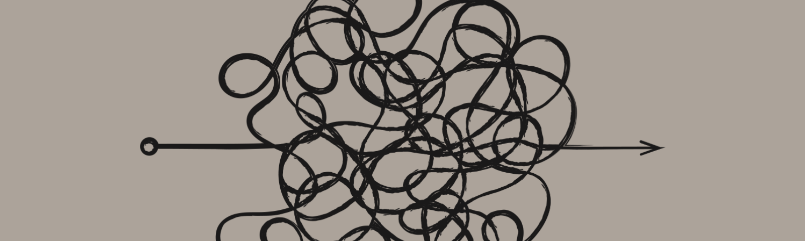 Single line drawing in black marker of an arrow with lots of squiggles in the middle and a point on the righthand side