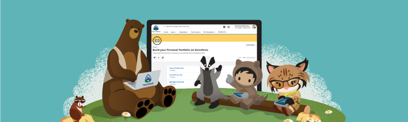 Trailhead characters Codey, Earnie, Astro, and Appy sitting on a log in front of a screen showing the Portfolio project.