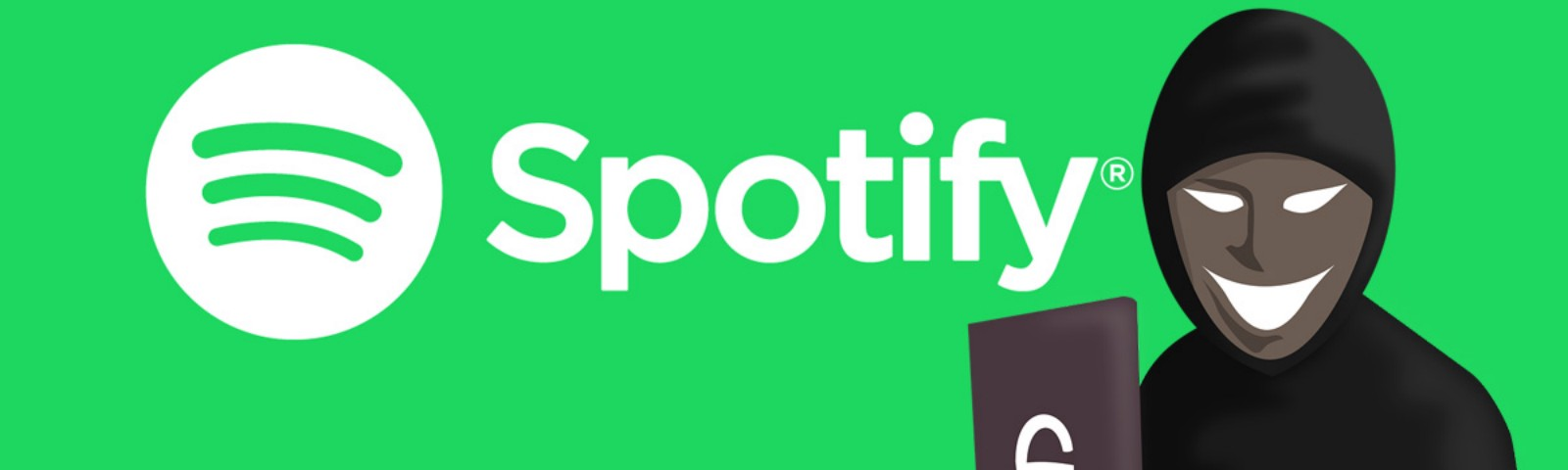 Spotify logo and wordmark with an image of a grinning hacker using a laptop