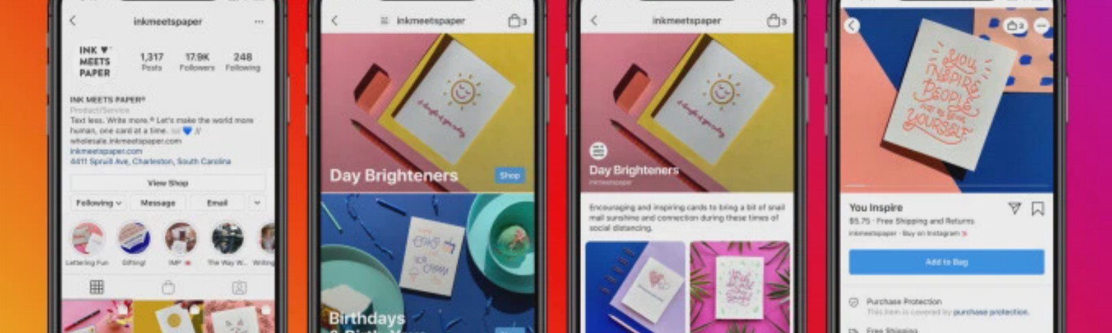 Phone screenshots Facebook and Instagram new feature: Shops
