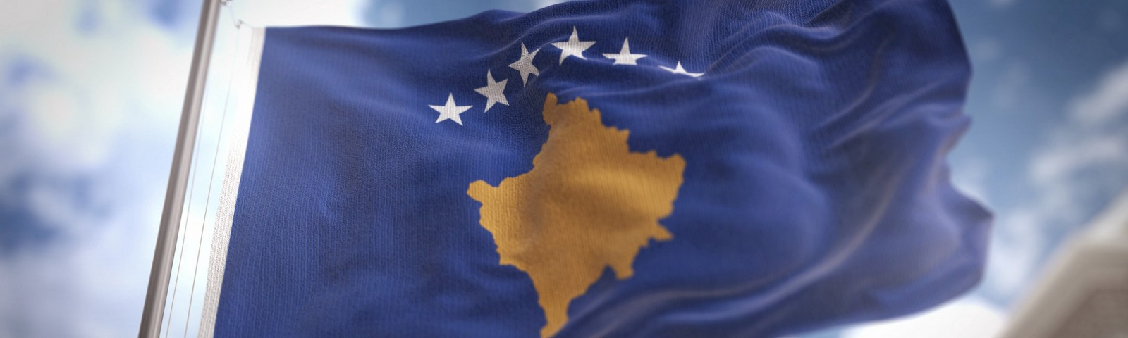 Kosovo flag blowing in the wind