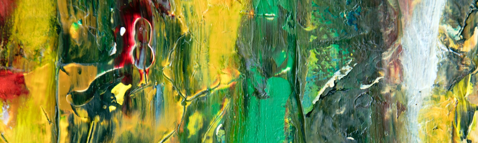 An abstract oil painting, different shades of green and yellow nearly bleeding to red.