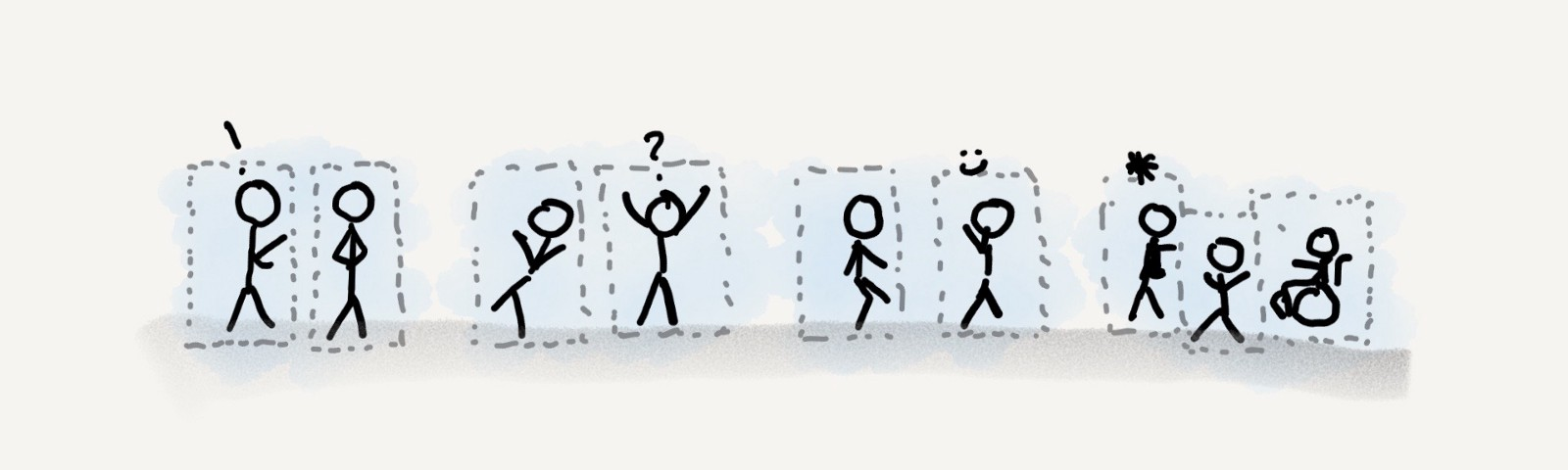 Four groups of stick figures chatting in a hallway, but with dashed grey borders around each person.