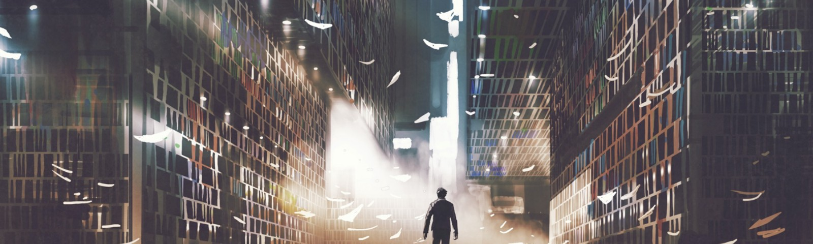 A figure walking into a vast library, pages flying through the air and falling around them.