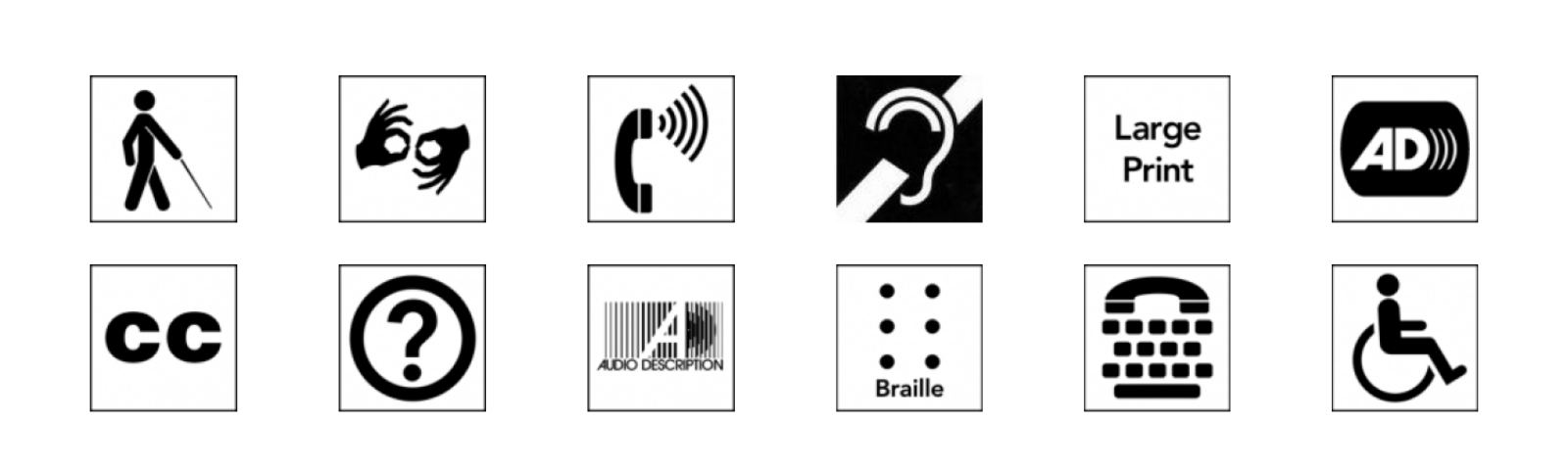 A grid of disability access symbols—access to low vision, sign language, access for hearing loss, accessible print, etc.