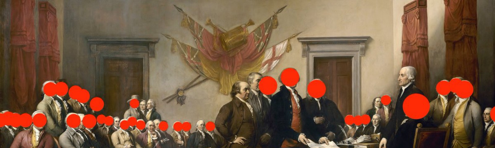 A historic painting of the Continental Congress with red dots covering the faces of most of the individuals depicted.