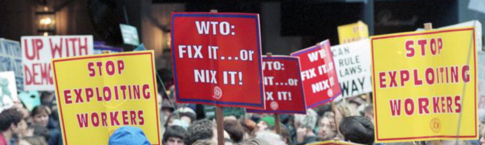 Crowd on 7th Avenue in Seattle, Washington Nov. 29, 1999 protesting against the World Trade Organization.