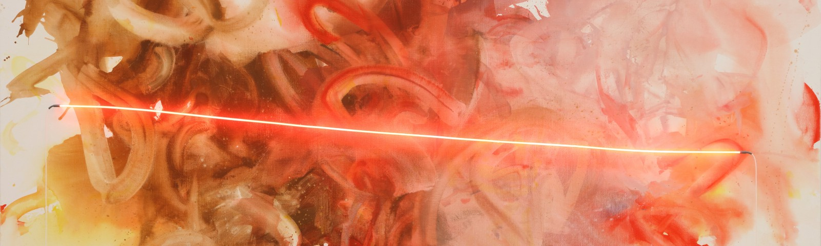 Mary Weatherford's painting featuring a neon light element swooping across a canvas of swirling orange and brown strokes.