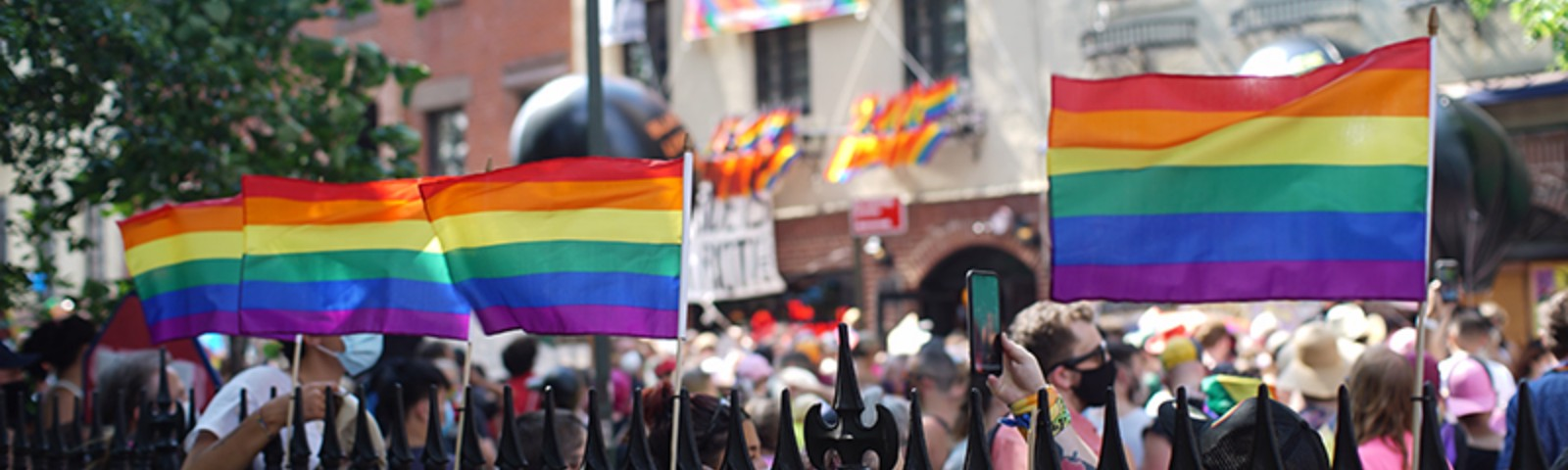 Street scene with pride flags