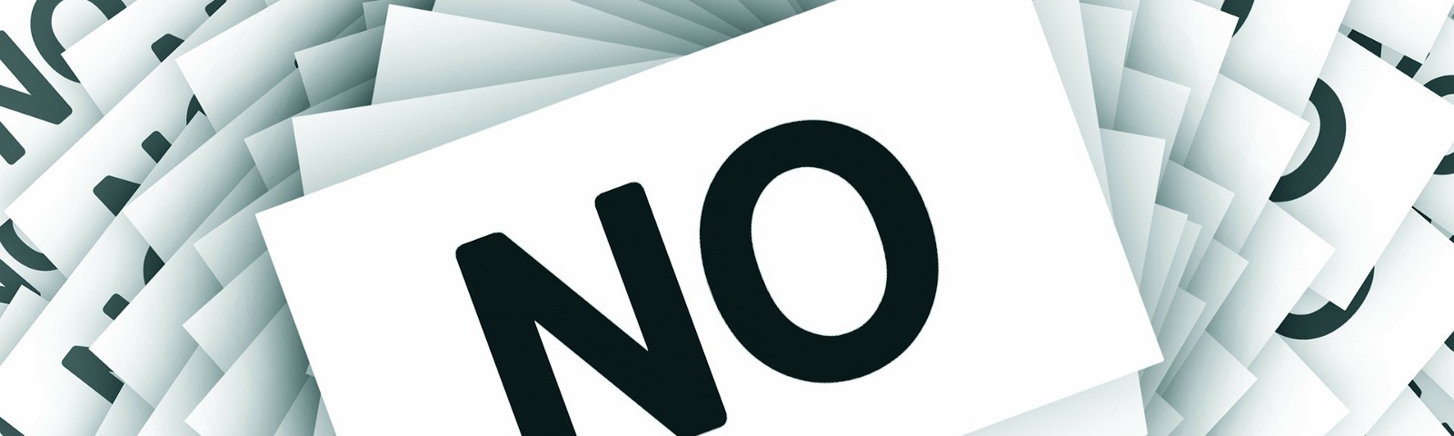 "The word ""No"" repeated over and over"