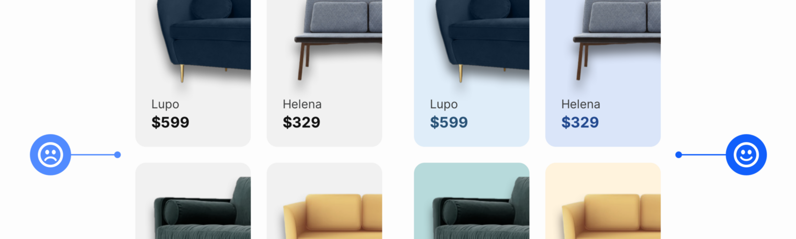 Product shots of furniture with various coloured backgrounds