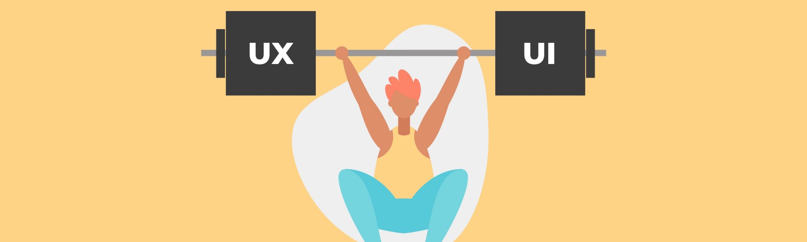 An illustration of a weightlifter lifting a beam with the words UX and UI on opposite sides.