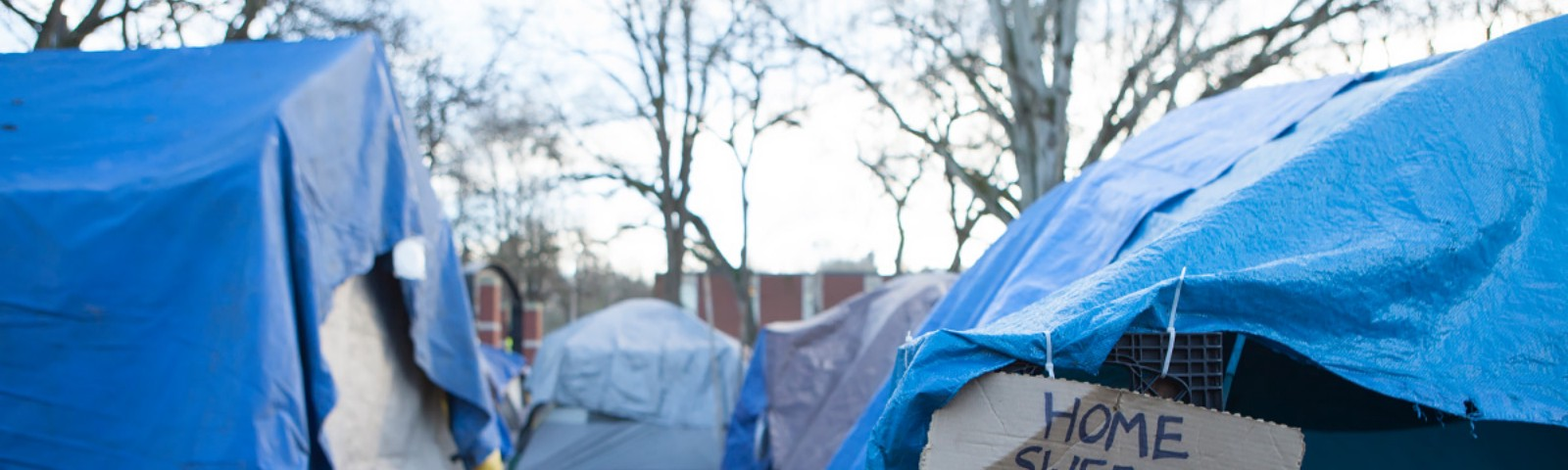 Image of a tent city with blue tarp covered tents. A tent in the foreground has a cardboard sign hanging from it