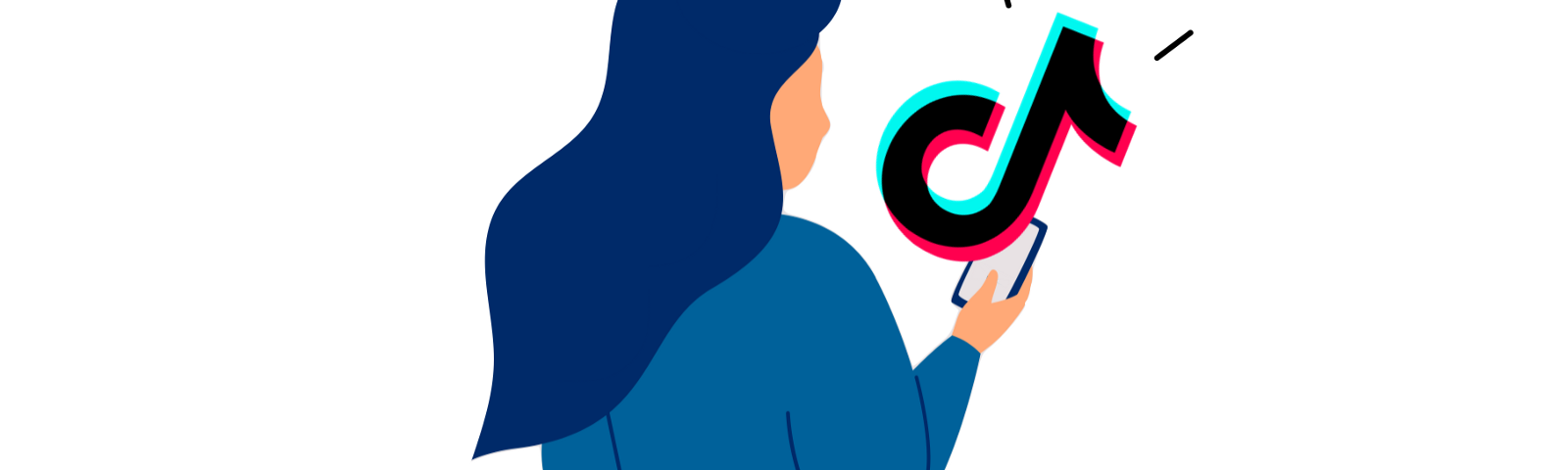 Woman looking at a phone  emanating a large TikTok logo